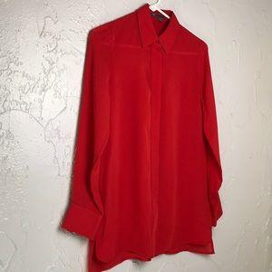 Vince Red 100% Silk Long Sleeve Top